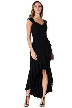Černé dlouhé šaty s volány City Goddess Naila 00b2fdc1b4