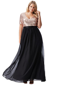 cca5034ae048 -20% Černé dlouhé šaty se zlatým živůtkem City Goddess Batma