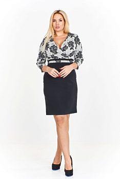 6651488b6f81 -13% Černé pouzdrové šaty s bílým živůtkem Monariss Antonella