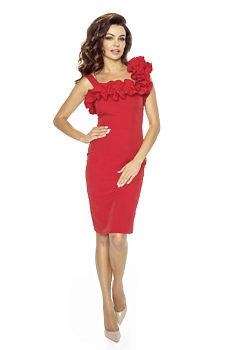 22da11c1b49 Červené pouzdrové šaty s volánky Kartes Petunie