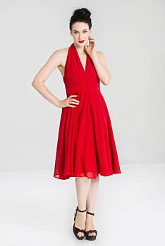 404e45c6bde Červené šaty za krk Hell Bunny Monroe