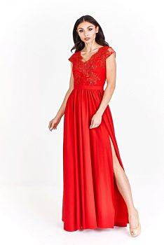 cc9035702fe2 -20% Červené společenské šaty s rozparkem Bosca Fashion Amma
