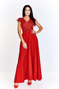 -8% Červené společenské šaty s vyšívaným živůtkem Bosca Fashion Laura 48d903bc5e