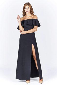 Dlouhé černé šaty s volánem Katniss Kora ca26b0866c