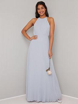 -11% Dlouhé šedé společenské šaty Chi Chi London Morghan b1c6206784e