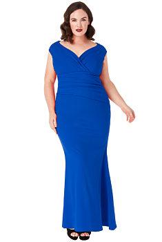 Novinka Kobaltové dlouhé šaty bez rukávů City Goddess Melanie 4d3e8ec5724