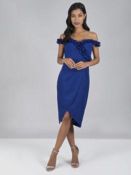 Kobaltové pouzdrové šaty Chi Chi London Brianna 249b248582
