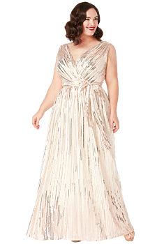 Krémové společenské šaty s flitry City Goddess Afrodita 5b1091534e