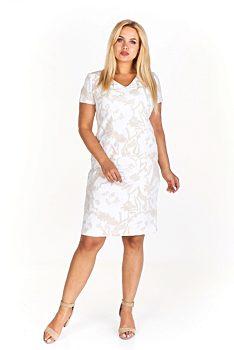 e262220e9e7 Novinka -10% Smetanové šaty s béžovými květinami Kosek Geneve