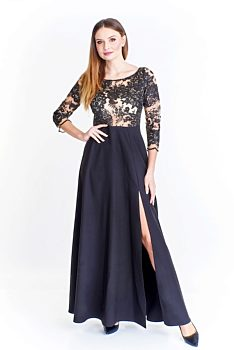 Novinka -4% Společenské černé šaty s průhledným živůtkem Elit Look Adanna d23c1302aa