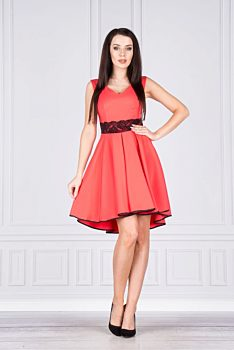 Společenské korálové šaty s černou krajkou Vegas Fedosia 6f8743c57a