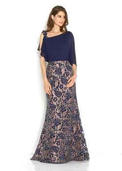 Novinka Společenské tmavě modré šaty se zdobením na sukni Jora Mireya 6d7effa44a