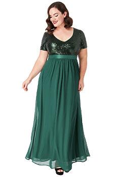 6b7238f14795 -30% Zelené dlouhé šaty s flitrovaným živůtkem City Goddess Batma