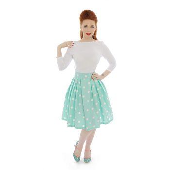 be3618c1e22b -50% Mentolová sukně s bílými puntíky Lindy Bop Veronika