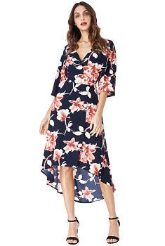 71882c2982bb -50% Modré zavinovací šaty s květy City Goddess Allison