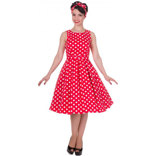 -50% Červené šaty s bílými puntíky Dolly and Dotty Annie c386454795